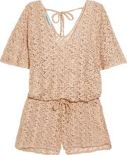 Woman Alyna Crochet Knit Playsuit Beige