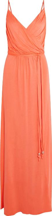 Woman Zoe Wrap Effect Stretch Modal Maxi Dress Orange
