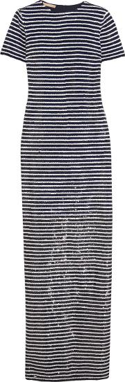 Woman Striped Sequined Silk Maxi Dress Navy