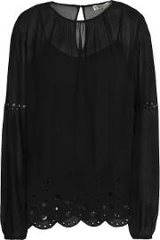 broderie anglaise trimmed georgette blouse