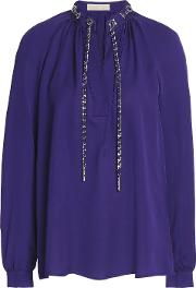 chain embellished gathered silk crepe de chine blouse