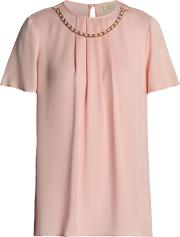 chain embellished pleated silk crepe de chine blouse