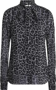 pussy bow leopard print crepe blouse