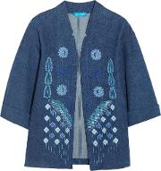 M.i.h Jeans Woman Embroidered Denim Jacket Mid Denim
