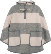 M.i.h Jeans Woman Honor Hooded Striped Wool Blend Twill Cape Gray