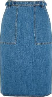 M.i.h Jeans Woman Juno Belted Denim Skirt Mid Denim