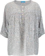 M.i.h Jeans Woman Zodiac Printed Washed Silk Top Gray Size M
