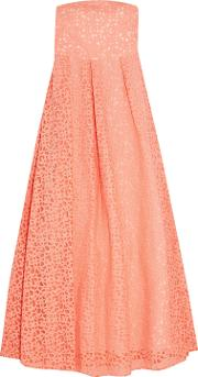 Woman Appliqued Tulle Gown Coral