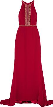 Woman Bead Embellished Tulle Trimmed Crepe Gown Burgundy Size 12