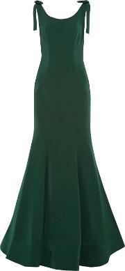 Woman Bow Embellished Fluted Cady Gown Green Size 6