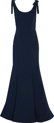 Woman Bow Embellished Fluted Cady Gown Midnight Blue Size 12