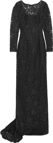 Woman Corded Lace Gown Black Size 2