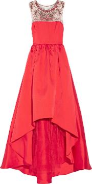 Woman Embellished Satin Twill Gown Red Size 6