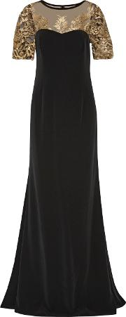 Woman Embroidered Tulle Paneled Cady Gown Black Size 4