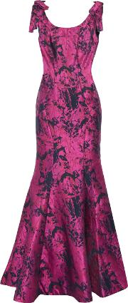 Woman Fluted Bow Embellished Jacquard Gown Fuchsia Size 6