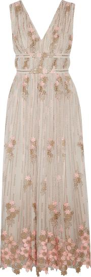 Woman Gathered Embroidered Tulle Gown Taupe Size 0