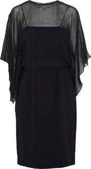 Woman Layered Draped Georgette And Crepe Dress Midnight Blue