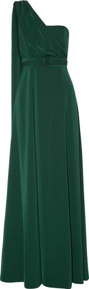 Woman One Shoulder Draped Cady Gown Emerald Size 12