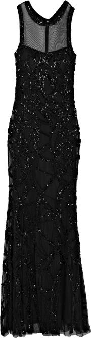 Woman Sequin Embellished Tulle Gown Black Size 2