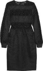Woman Sequined Guipure Lace Paneled Twill Dress Black