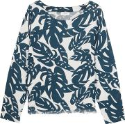 Woman Australia Frayed Printed Cotton Coverup Navy