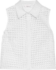 Woman Cropped Broderie Anglaise Cotton Blend Shirt White