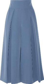 Woman Cropped Pleated Cady Culottes Light Blue