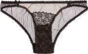 Woman Cotton Lace And Mesh Briefs Black Size Xs