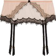 Woman Bisou Bisou Zoo Silk Blend Tulle And Lace Suspender Belt Neutral Size M