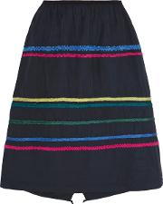 Woman Embroidered Faille Skirt Navy Size 36