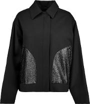 Faux Glossed Leather And Wool Blend Jacket