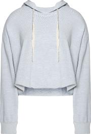 Woman Cropped Cotton Blend Jersey Hooded Sweater Light Gray