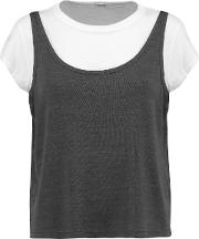 Woman Layered Jersey Top Charcoal