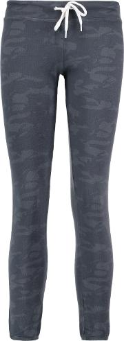 Woman Printed Jersey Track Pants Storm Blue