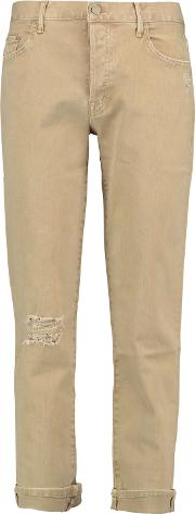 Woman The Loosey Cotton Blend Twill Straight Leg Pants Beige Size 25