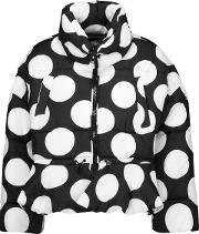 Woman Polka Dot Quilted Shell Jacket White Size 42