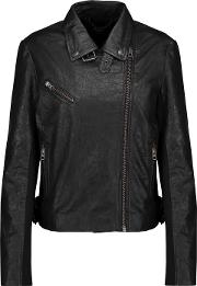 Woman Canes Textured Leather Biker Jacket Black