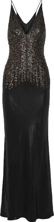 Woman Embellished Silk Satin Gown Black Size 42