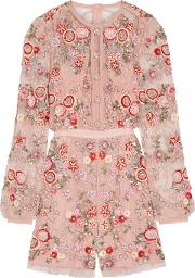 Woman Meadow Embellished Tulle Playsuit Pastel Pink Size 14
