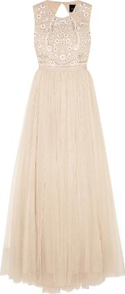 Woman Prairie Open Back Embellished Chiffon And Tulle Gown Neutral Size 14