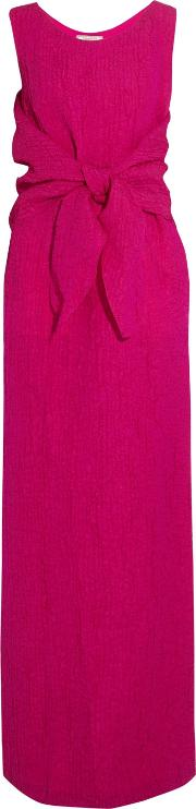 Woman Draped Silk Blend Cloque Gown Fuchsia Size 36