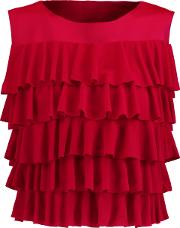 Woman Ruffled Cropped Neoprene Top Red Size L