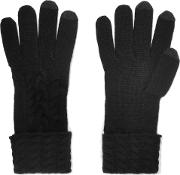 N.peal Woman Cable Knit Cashmere Gloves Black Size Onesize