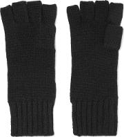 N.peal Woman Cashmere Fingerless Gloves Black Size Onesize