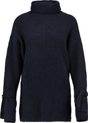 N.peal Woman Ribbed Cashmere Turtleneck Sweater Navy Size M