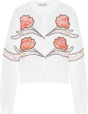 Woman Gestures Embroidered Lace And Mesh Paneled Jersey Cardigan White