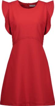 Woman William Ruffled Embroidered Crepe Mini Dress Red