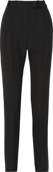 Woman Aden Pleated Satin Trimmed Grain De Poudre Wool Tapered Pants Black Size 34