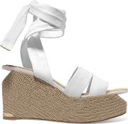 Woman Luise Leather Wedge Sandals White Size 36
