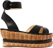 Woman Violette Woven And Leather Platform Sandals Black Size 40